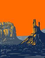Mesas Buttes und Türme im Tal der Götter, das früher Teil des Nationaldenkmals der Bärenohren war und sich nördlich des Monument Valley in der Nähe von Bluff utah usa wpa poster art . befindet vektor