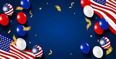 4 juli glad självständighetsdag usa. design med ballonger och amerikanska flaggan. vektor. vektor