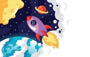 Rakete, die durch den Weltraumhintergrund reist vektor