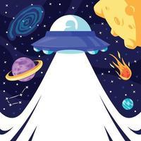 UFO im Weltraumhintergrund vektor