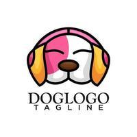 Hund mit Kopfhörerkonzeptdesign vektor