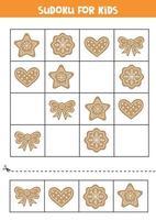 Sudoku mit Weihnachtsplätzchen. vektor