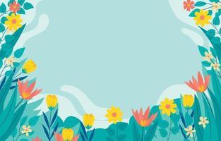 blühender Blumenrahmen vektor