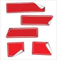 Samling av röda etiketter med rundade hörn