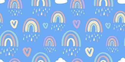 niedliches nahtloses Muster des Regenbogens und der Herzen. romantisches Muster für Valentinstag. Kreative Kinderillustration in einem modischen skandinavischen Stil. Vektorillustration vektor