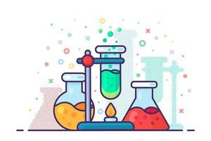 Chemielabor Experiment Werkzeug Symbol Vektor