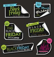 Sammlung schwarzer Freitag-Verkaufsrabatt- und -förderungsfahnen und -aufkleber