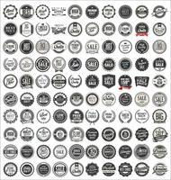 Mega-Sammlung von Retro-Vintage-Abzeichen und Etiketten