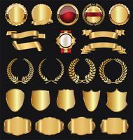 Retro goldene Ausweisvektor-Illustrationssammlung