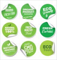 Sammlung von grünen Etiketten und Abzeichen für Bio- und Naturprodukte