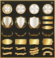 Retro goldene Farbbandaufkleber und Schildvektorsammlung
