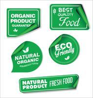 Naturliga organiska produkter samling av etiketter vektor