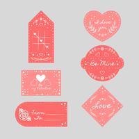 Röd St. Valentinsdag Etiketter Samling