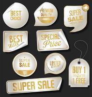 Moderne Verkaufsaufkleber und bunte Sammlung der Tags vektor