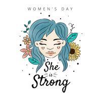 Kvinna med blått hår och blommor med löv runt kvinnodagen