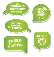 Naturliga ekologiska produkter grön samling av etiketter och märken