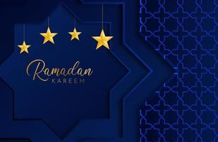 Ramadan Kareem Hintergrund mit dunkelblauem Papier geschnittene geometrische Form-Vektor-Illustration für islamische Feiern des heiligen Monats vektor
