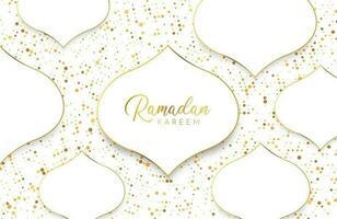 Ramadan Kareem Hintergrund mit abstrakter Papierschnittform aus Weißgold und Glitzer vektor