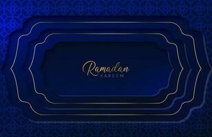 Ramadan Kareem Hintergrund mit goldener und blauer Papierschnittart-Vektorillustration für islamische Feiern des heiligen Monats vektor