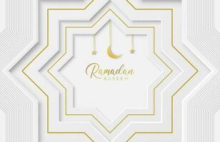 Ramadan Kareem Hintergrund mit weißem Papier geschnittene geometrische Form-Vektor-Illustration für islamische Feiern des heiligen Monats vektor