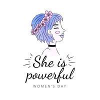 Tjej med blått hår och rosa blommakrona till kvinnodagen