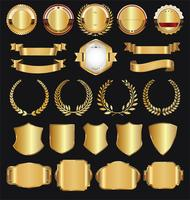 Retro gyllene band etiketter och sköld vektor samling