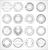 Schwarzweiss-Vektor der runden Papieraufkleber des Schmutzes vektor
