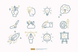 Kreativität im Zusammenhang mit Doodle-Symbol-Konzept mit Gehirn-Symbol. Kreatives Design, Idee, Inspiration, Brainstorming, Start und Think Stroke Line Vector Illustration