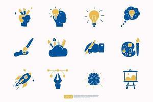 Kreativität im Zusammenhang mit Doodle-Symbol-Konzept mit Gehirn-Symbol. Kreatives Design, Idee, Inspiration, Brainstorming, Startup und Think Vector Illustration