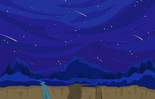 Meteoritenschauer am Nachthimmel vektor