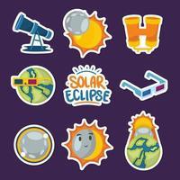 Stickersammlung zur Sonnenfinsternis vektor