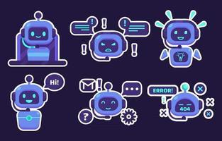 Chatbot-Aufklebersammlungen vektor