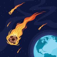 Meteor, der um die Erde fliegt vektor