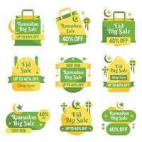 Ramadan-Rabatt-Verkaufsetikettenpaket vektor