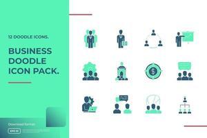 Business-Teamwork-Doodle-Symbol. Geschäftspartnerschaftsstrategie und Führungsmanagementkonzept Zeichen Symbol Vektor Illustration