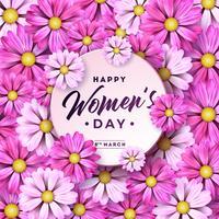 Lycklig kvinnodag blomning hälsningskort