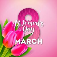 Lycklig kvinnodag Blom- hälsningskortdesign