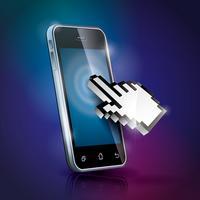 Vektor teknik stylad illustration med glänsande pekskärm telefon