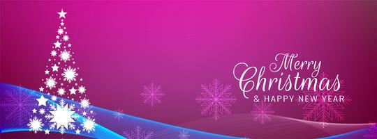 Stilvolle rosa Fahnenschablone der frohen Weihnachten vektor