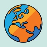 Einfachheit freihändige Weltkartenskizze auf dem Globus. vektor