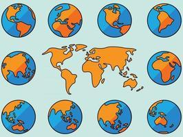 Sammlung von Einfachheit freihändige Weltkartenskizze auf dem Globus. vektor