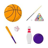 Basketballball, Billardkugeln und Queue, Baseballschläger und Ball, Bowlingball und Kegelsport stellen flache Designvektorillustrationssymbolzeichen des flachen Stils lokalisiert auf weißem Hintergrund ein. vektor