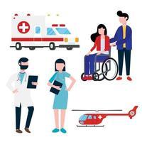 Krankenhausangestellter und Transportsetkonzept mit Arzt, Krankenschwester, Patienten, Hubschrauber und Krankenwagen im flachen Stil. Arzt, Krankenschwester, Frauenrollstuhl, Krankenwagen, Hubschrauber auf Hintergrund isoliert. vektor