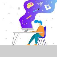 Flacher Grafikdesigner With Creative Software Vector Illustration