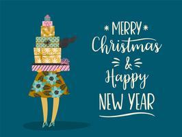 Jul och gott nytt år illustration. Trendig retrostil.