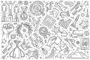Hand gezeichneter Motivationssatz Gekritzelhintergrund vektor