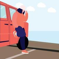 stylischer Mann neben dem Auto am Strand vektor