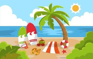 schöne Sommerstrand Meer Natur exotische Urlaubsillustration 03 vektor
