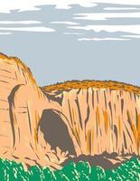 la ventana natürlicher bogen im el malpais nationaldenkmal in new mexiko usa wpa poster art vektor