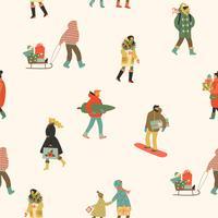 Jul och Gott Nytt År sömlöst mönster med människor. Trendig retrostil. vektor